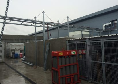 17 metre long outdoor pipe support bridge